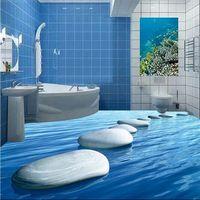 Custom Mural Wallpaper for Living Room Bedroom 3D sea blue stone connected  Floor Painting Bathroom Self Adhesive wall sticker