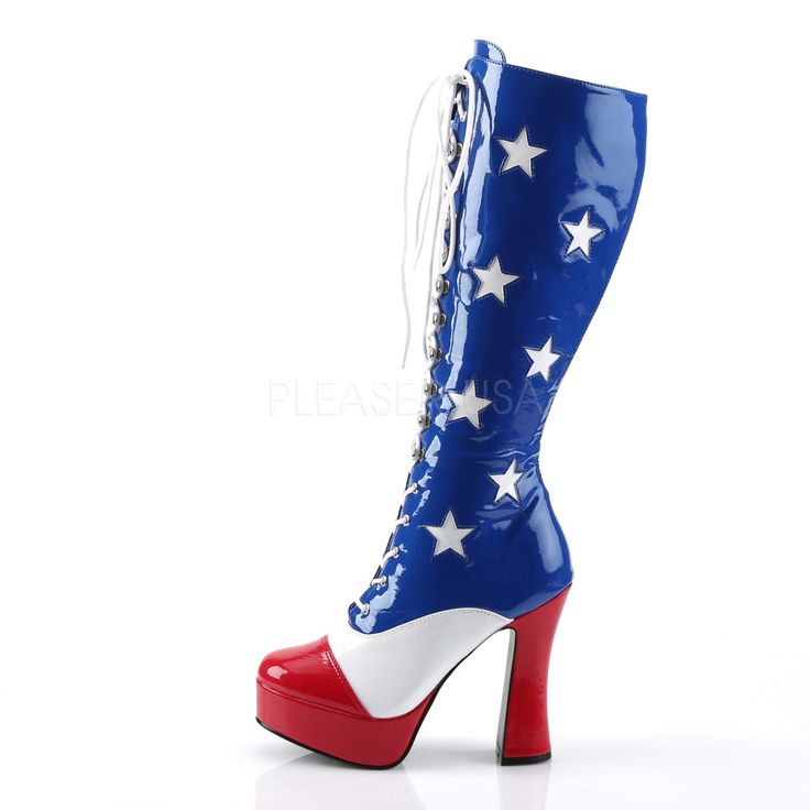 Red White Blue American Flag Usa Military Uso Knee High Gogo Dancer Boots 6 7 8