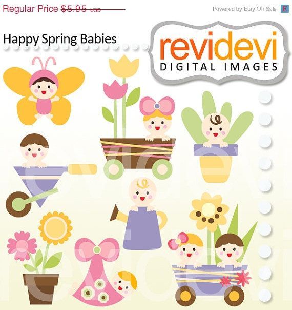 Spring Babies Clip Arts Digital Graphic For Your Craft And Creative Projects