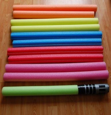 The light sabers from pool noodles for the kiddos party...