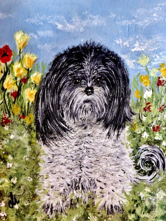 ARTFINDER: I am adorable.. by Cristina Mihailescu - My model for this colorful, whimsical painting was  my little, adorable, fluffy dog pictured on her favorite spot in our backyard. Her name is Hana and mean ...