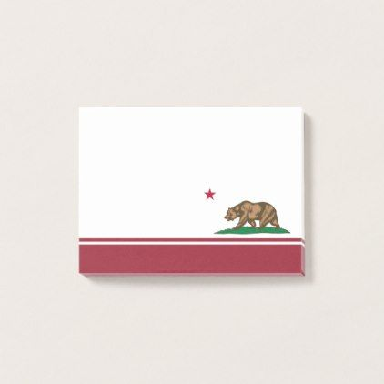California Bear Republic Flag Grizzly and Star Post-it Notes - red gifts color style cyo diy personalize unique