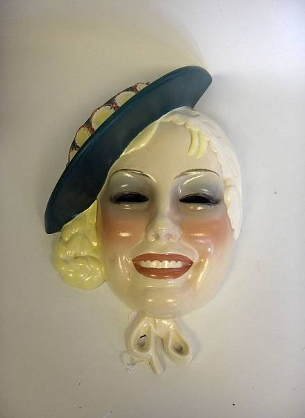 An Essevi Pottery wall mask, circa 1935