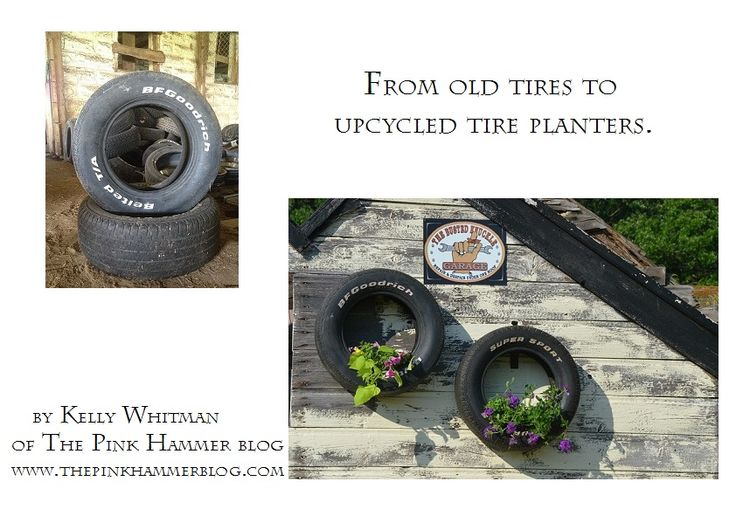 Hang upcycled tires on your exterior wall as free planters.