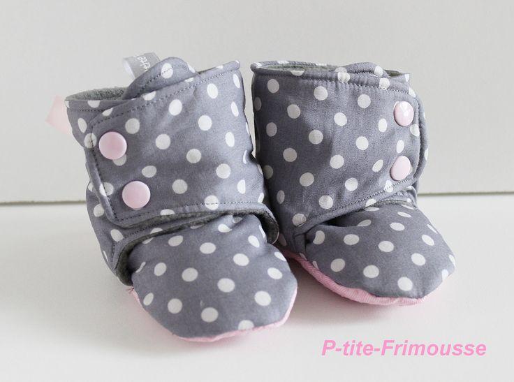 Chaussons bottines bébé fille, tissu doublé polaire . : Mode Bébé par p-tite-frimousse