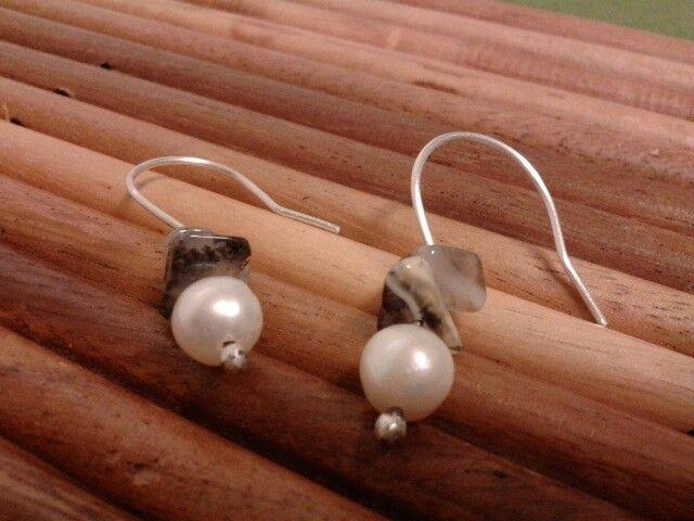 Pendientes con plata y perla cultivada. Joyeria Alos40