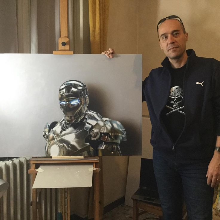 """Marcello Barenghi su Instagram: """"#ironman Mission accomplished :) Painting is almost done, now it needs drying before its final varnish is applied. I also did a drawing of Iron Man, (mixed media on gray paper) #drawingvideo here: https://youtu.be/NscRJY6VErU?list=PLEKv0jWmqLM1lZuyNZBhcQvkytPKloLup"""""""