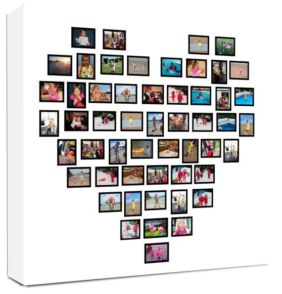 Family Tree Heart shaped Collage on Canvas by FlolliePopDesigns, £25.99