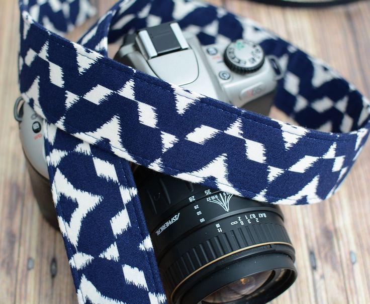 dSLR Camera Strap - Hipster Camera Strap - Navy and Cream Ikat - Blue Camera Strap dSLR - Ikat Camera Strap - pinned by pin4etsy.com