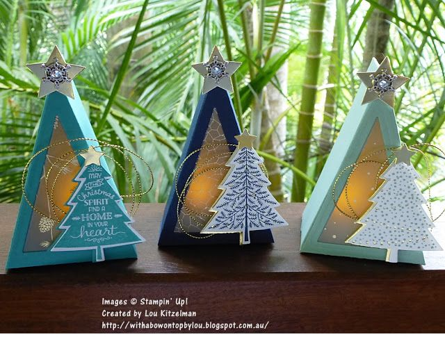 Tea light candle Christmas trees using Cutie Pie thinlits and Peaceful pines stamp set, Perfect Pines framelits die, Stampin' Up! With a bow on top