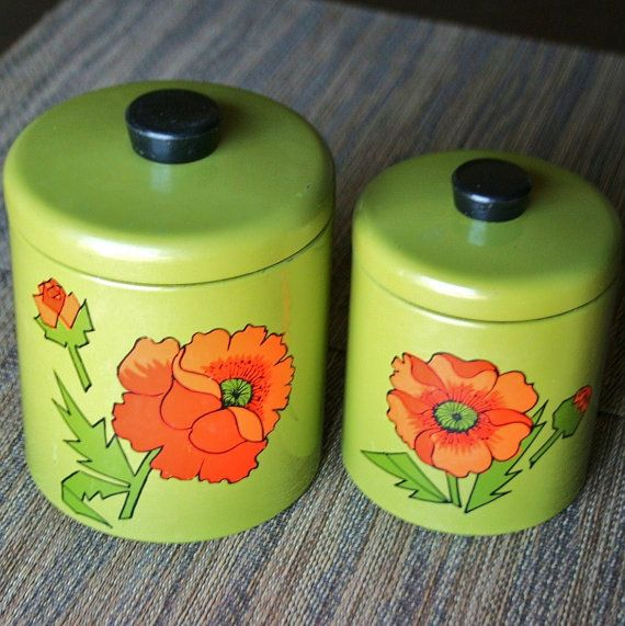 Pair of Retro Floral Green Metal Canisters  by VintageWolfy