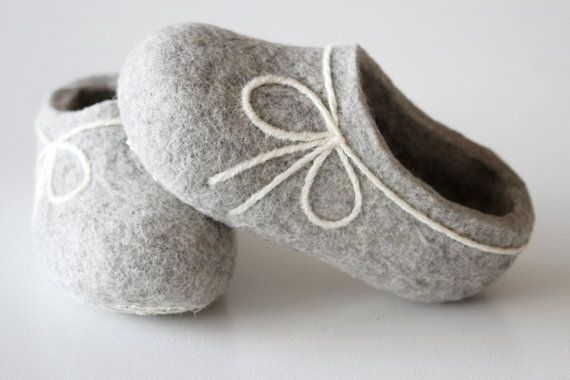 Hand Felted Wool Slippers for Everyone. Light Gray with  White decor.