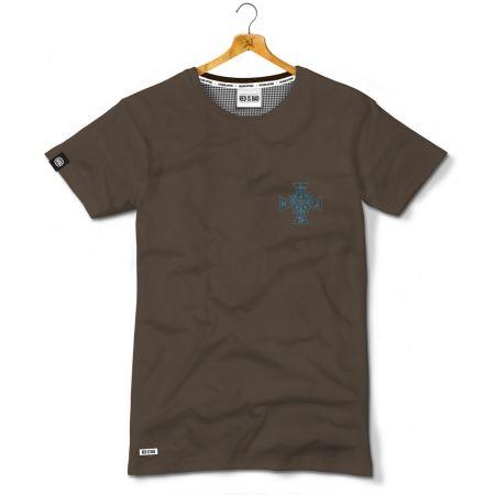 Koszulka patriotyczna Krzyż NSZ - Kolekcja Dyskretna - Ciemny brąz - odzież patriotyczna, koszulki męskie Red is Bad