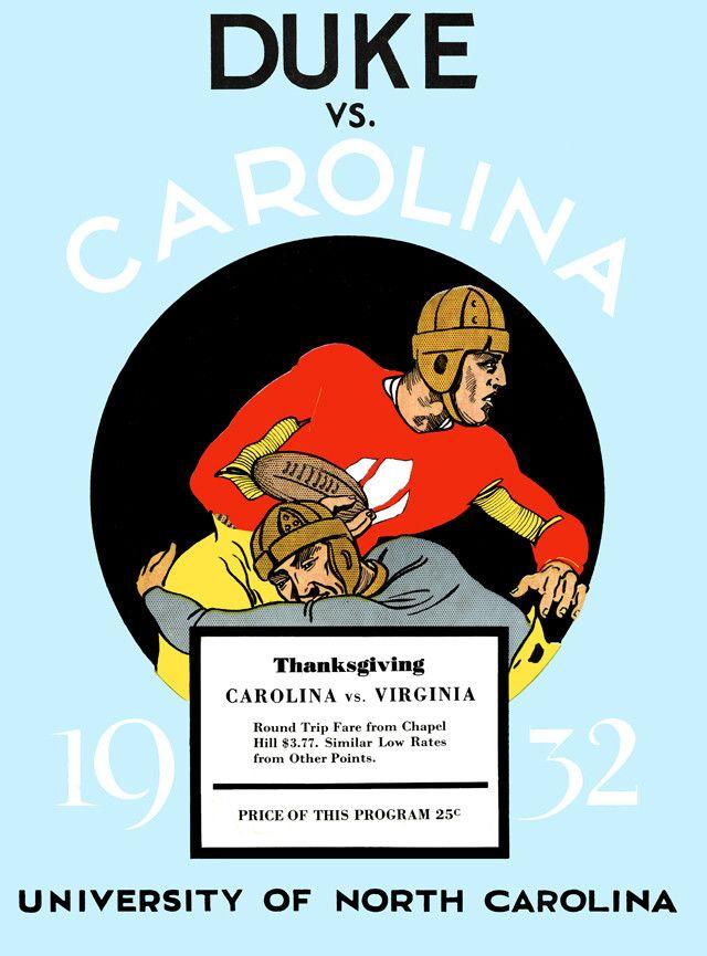 1932 UNC Tar Heels vs Duke Blue Devils 22 x 30 Canvas Historic Football Poster