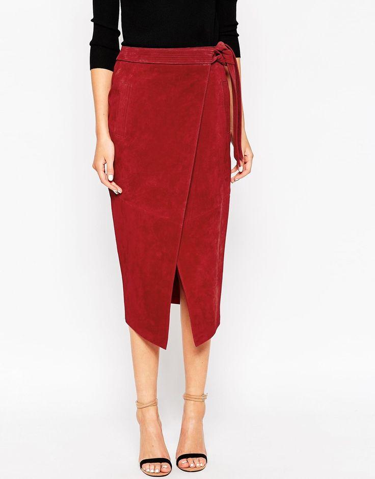 Image 4 ofASOS Suede Pencil Skirt With Obi Self Belt