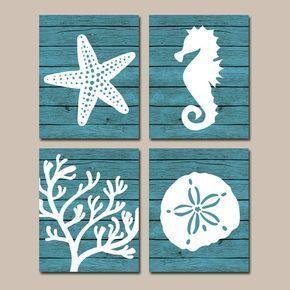 Spiaggia bagno parete arte, tela o stampe, Nautica costiera bagno Decor, stelle marine Aqua Seahorse, barriera corallina, plancia di legno Design, Set di 4