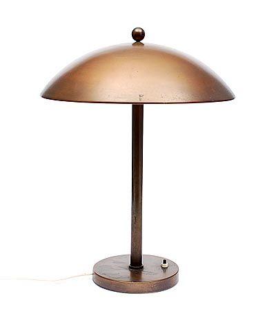 Gebronst metalen tafellampje Giso No.425 ontwerp W.H.Gispen ca.1930 uitvoering Gispen / Culemborg