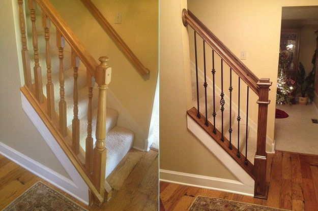 diy staircase | Before and after stair railings