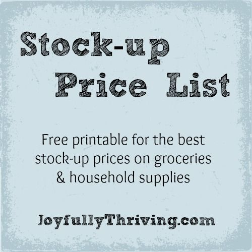 Stock-up Price List - A free printable for the best stock-up prices on groceries & household supplies.