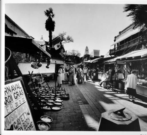 "Olvera Street facing towards City Hall, shoppers :: ""Dick"" Whittington Photography Collection, 1924-1987"