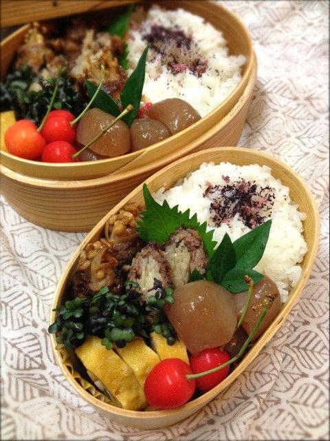 Twitter from @Izumi Tone Kumasaka ■2013.7月5日のお弁当 えのき茸の牛肉紫蘇巻き、玉蒟蒻の煮物、卵焼き、サクランボ♡ #obentoart #obento