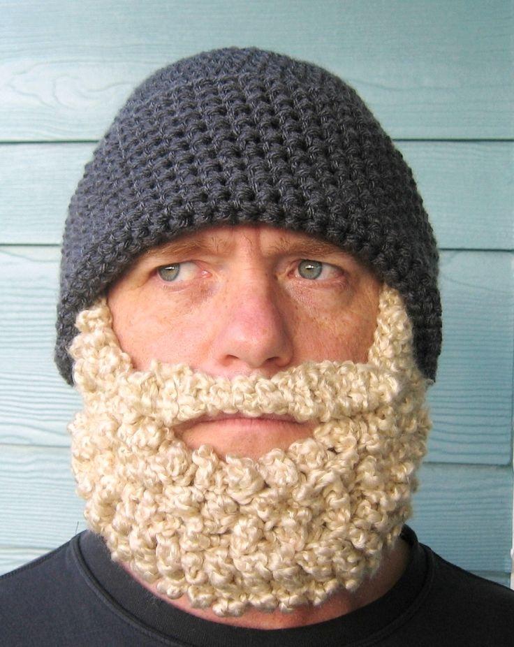 free Crochet Bearded Beanie Hat Pattern | the santa beard beanie version the fisherman beard beanie the