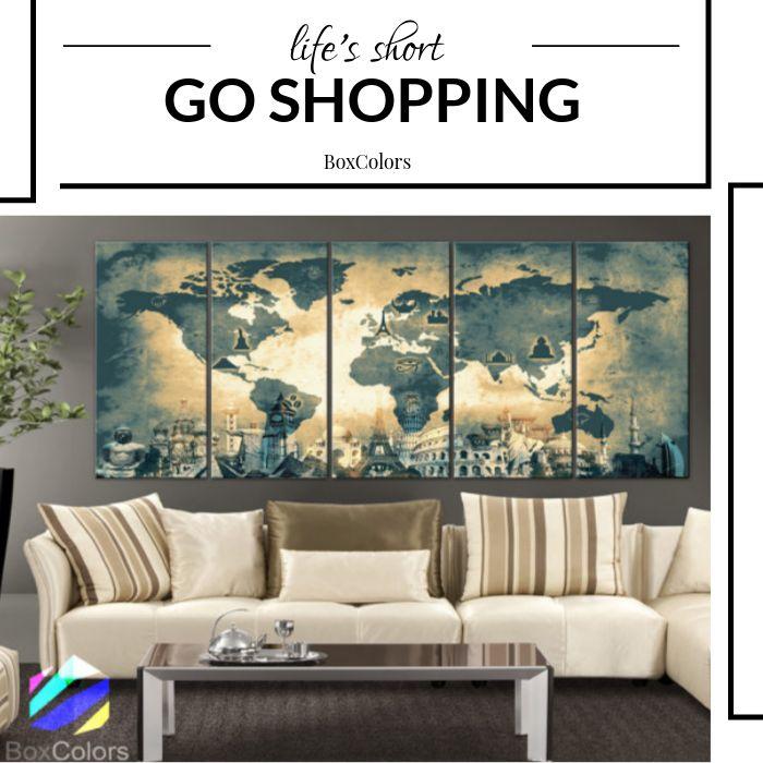 XLARGE 30″x 70″ 5 Panels Art Canvas Print Original Wonders of the world Old Map Light yellow Wall decor Home interior (framed 1.5″ depth)