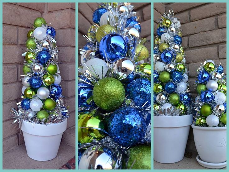 Seattle Seahawk green and blue ornament trees  Seahawk Christmas