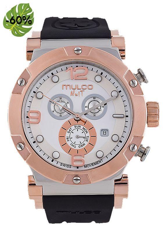 Rebajas de Verano! Relojes Mulco Nuit Track,colección de relojes de diseño,máquina de cuarzo suizo, caja de acero inoxidable, correa de silicona,resistente al agua hasta 10AtM