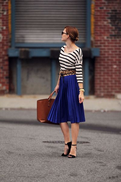 Stripes and pleated blue skirt.
