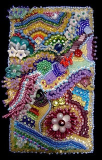'improvisational bead embroidery by Kathy Hinkle, photo by Robin Atkins'