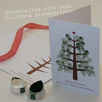 winter kid card | Children's Fingerprint Christmas Tree Cards | Winter Christmas