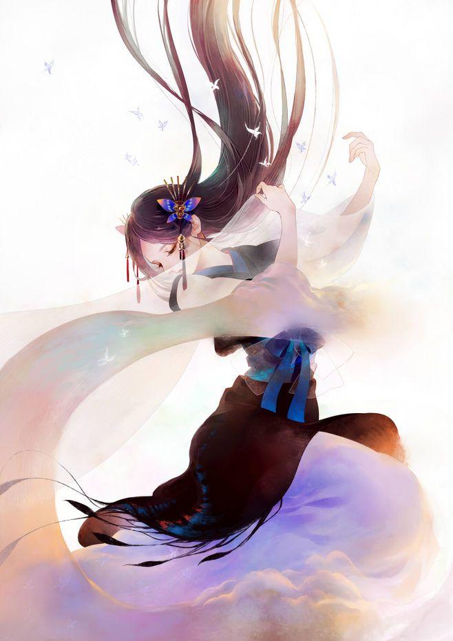 Manga Mädchen tanzt ... Arme geschwungen ... fliegende Haare ...Schleier vor Gesicht
