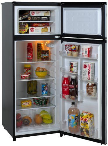 Discounted Avanti RA7316PST 2-Door Apartment Size Refrigerator, Black with Platinum Finish
