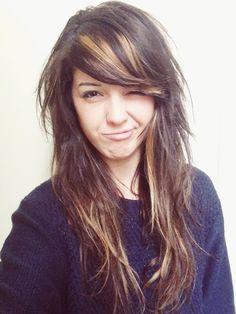bold highlights brown hair side bangs - Google Search