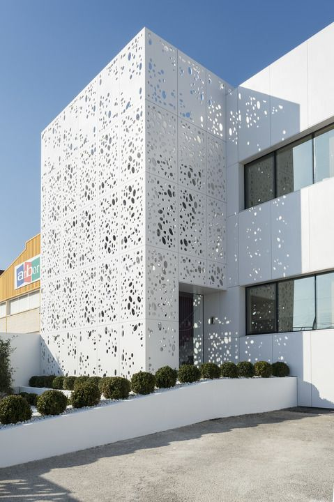 Perforated Facade Panel Minimalist Architecture Modern