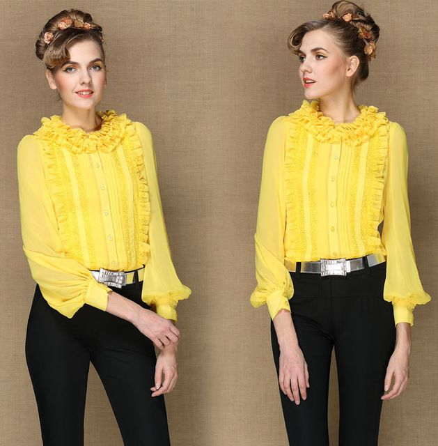 vintage 2015 spring autumn silk women runway brand designer shirts long sleeve blouses plus size women's tops yellow US $59.99 /piece      CLICK LINK TO BUY THE PRODUCT  http://goo.gl/oYWEYs