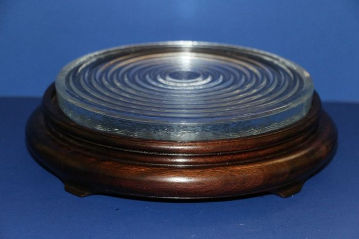 """Footed Round Mahogany Stained Wood Plant Stand 7"""" + Glass Insert"""