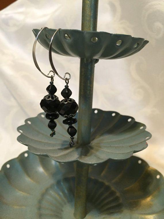 Vintage black bead silver 925 earrings by DawningsCustomDesign