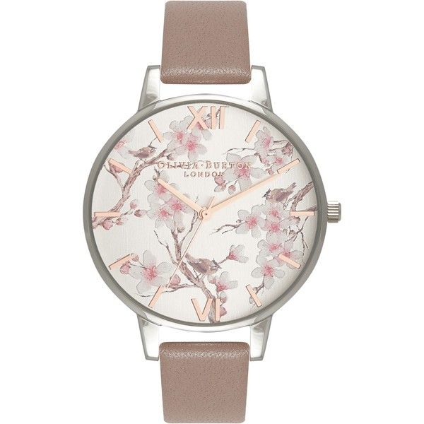 Olivia Burton OB16PL31 Women's Parlour Leather Strap Watch (180 BAM) ❤ liked on Polyvore featuring jewelry, watches, round watches, floral watches, leather-strap watches, dial watches and roman numeral jewelry