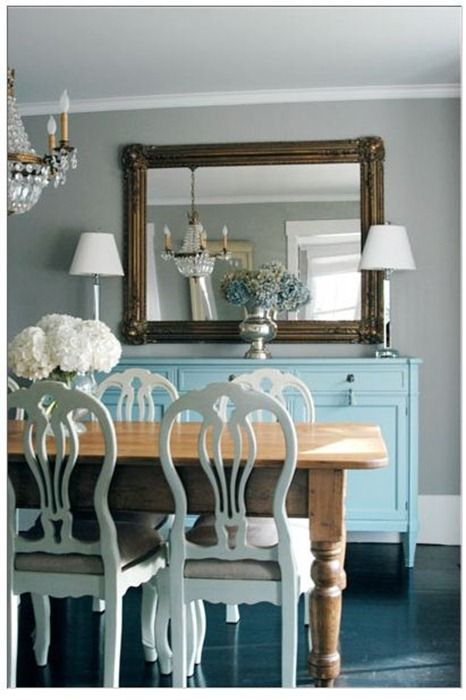 coordinated beautifully - not matchy matchy: Dining Rooms, Ideas, Buffet, Blue, Color, Chairs, Dinning Room, Wood Table