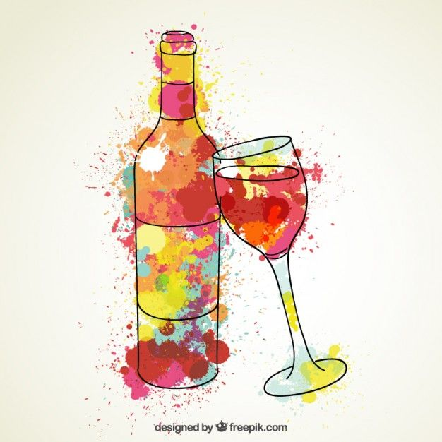Watercolor glass of wine and butterflies Vector | Free Download