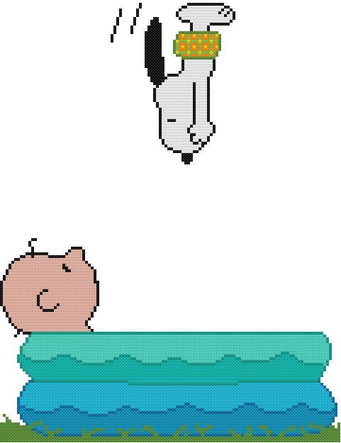 Cross Stitch PATTERN COLOR Snoopy Beagle Dog Charlie Brown Pool Dive Swim Trunks   Crafts, Needlecrafts & Yarn, Embroidery & Cross Stitch   eBay!