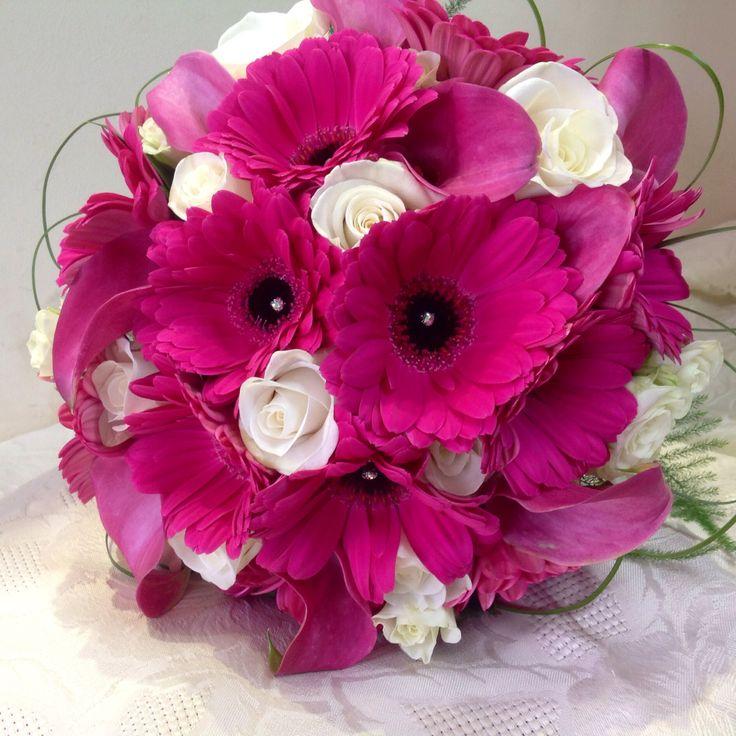 Pink Gerbera, pink calla lilies and white rose bridal Handtied bouquet. www.kellyannsflowers.co.uk