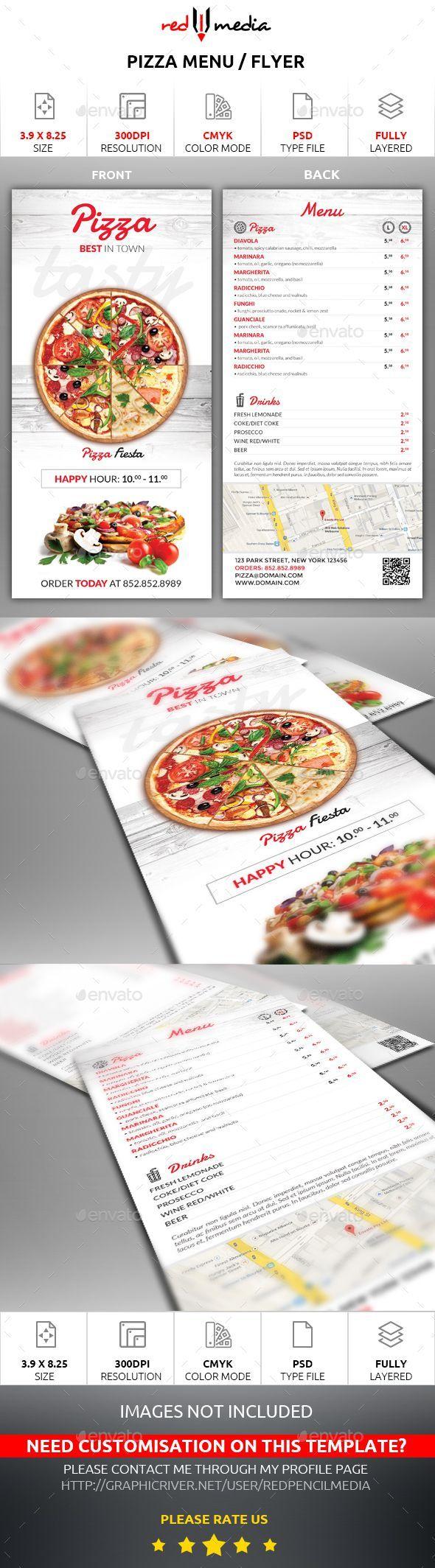#Pizza Menu / Flyer - #Restaurant #Flyers Download here: https://graphicriver.net/item/pizza-menu-flyer/15367076?ref=alena994