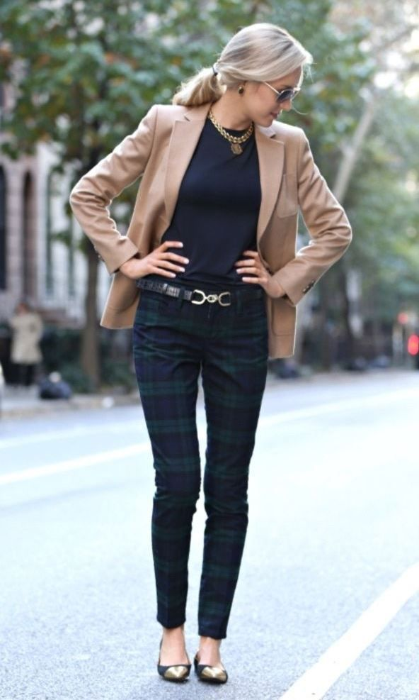 bbad7d574 trendy office outfit   blazer + black top + pants + flats ...