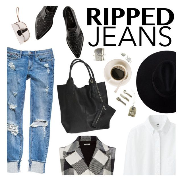 """Style This Trend: Ripped Jeans"" by thepommier ❤ liked on Polyvore featuring Robert Clergerie, Uniqlo, Tome, Brit-Stitch and rippedjeans"