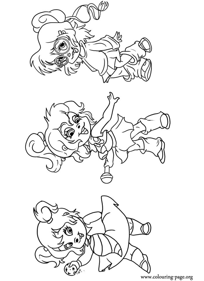 A cute coloring page with the Chipettes Brittany, Jeanette and ...
