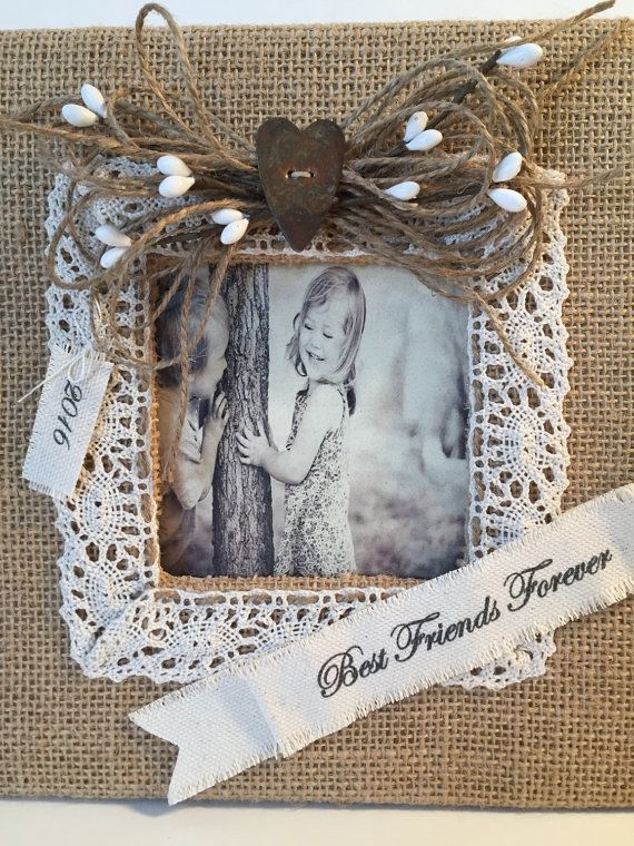 Personalized Burlap Picture Frame Burlap Wedding by KazzDesigns