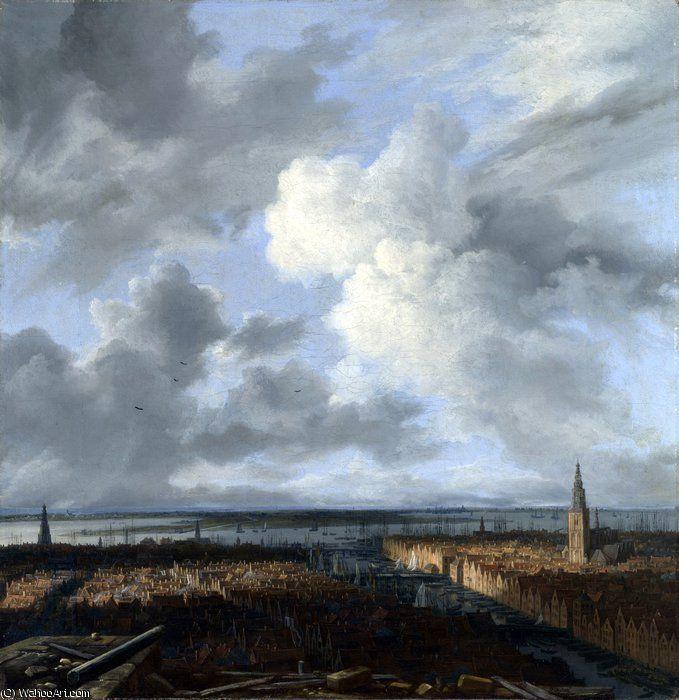 Une vue panoramique d Amsterdam en regardant vers l IJ de Jacob Isaakszoon Van Ruisdael (Ruysdael) (1628-1682, Netherlands)